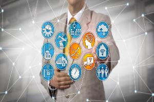 Logistican Duties Suited Man plus icons by Leo Wolfert at Dreamstime